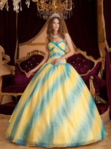 Ombre Color Ball Gown Sweetheart Floor-length Beading Organza Quinceanera Dress