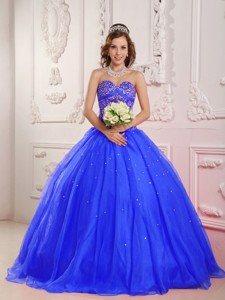 Blue Princess Sweetheart Floor-length Satin And Organza Beading Quinceanera Dress