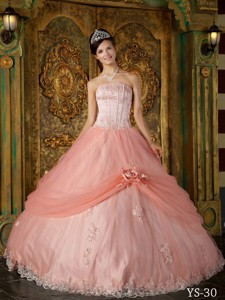 Watermelon Ball Gown Strapless Floor-length Appliques Tulle Quinceanera Dress