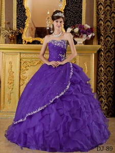 Purple Ball Gown Strapless Floor-length Organza Appliques Bule Quinceanera Dress