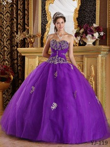 Eggplant Purple Ball Gown Sweetheart Floor-length Appliques Tulle Quinceanera Dress