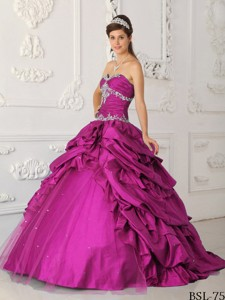 Fuchsia Princess Sweetheart Floor-length Taffeta And Tulle Appliques With Beading Quinceane