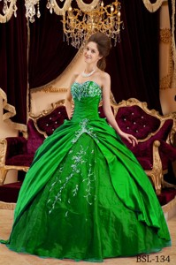 Green Ball Gown Sweetheart Floor-length Taffeta and Tulle Appliques Quinceanera Dress