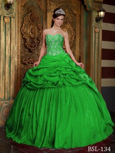 Green Ball Gown Sweetheart Floor-length Taffeta Beading and Appliques Quinceanera Dress