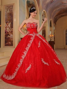 Red Ball Gown Sweetheart Floor-length Organza Embroidery and Beading Quinceanera Dress