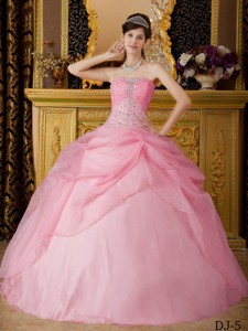 Rose Pink Ball Gown Strapless Floor-length Organza Beading Quinceanera Dress