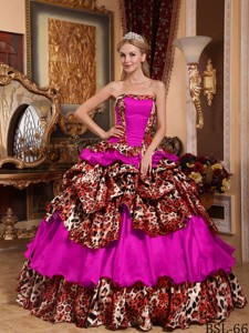 Fuchsia Ball Gown Strapless Floor-length Taffeta and Leopard Pick-ups Quinceanera Dress