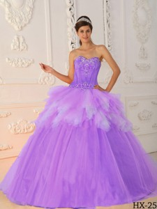 Lavender Princess Sweetheart Floor-length Satin And Tulle Beading Quinceanera Dress