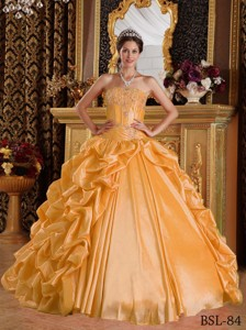 Golden Ball Gown Sweetheart Floor-length Taffeta Emboridery and Beading Quinceanera Dress