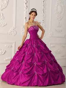 Fuchsia Ball Gown Strapless Floor-length Taffeta Appliques and Beading Quinceanera Dress