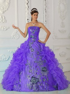 Exquisite Ball Gown Strapless Floor-length Embroidery Purple Quinceanera Dress