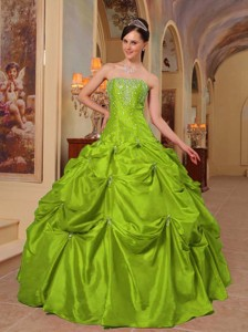Yellow Green Ball Gown Strapless Floor-length Taffeta Beading and Embroidery Quinceanera Dress