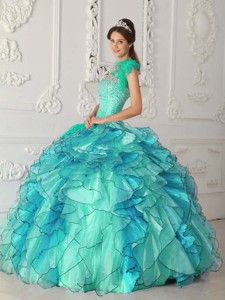 Turquoise Ball Gown Strapless Floor-length Satin and Organza Beading Quinceanera Dress