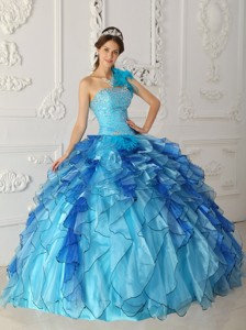 Aqua Blue Ball Gown One Shoulder Floor-length Satin and Organza Beading Quinceanera Dress