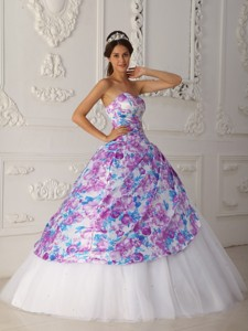 Multi-color Sweetheart Floor-length Tulle Appliques Quinceanera Dress