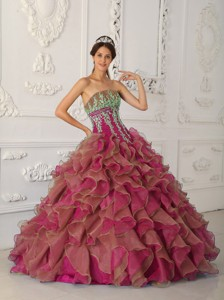 Fuchsia Ball Gown Strapless Floor-length Organza Beading and Appliques Quinceanera Dress