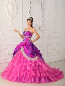 Hot Pink Ball Gown Strapless Floor-length Organza and Taffeta Lace and Appliques Quinceanera Dress