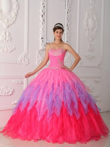 Hot Pink Ball Gown Sweetheart Floor-length Organza Beading and Ruch Quinceanera Dress