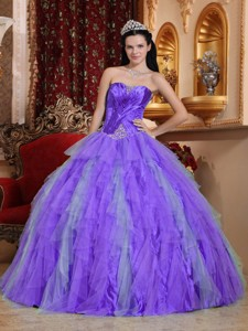Lavender Ball Gown Sweetheart Floor-length Tulle Beading Quinceanera Dress