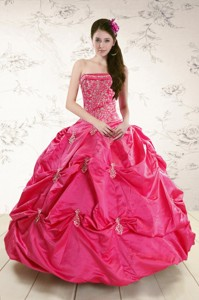 Strapless Hot Pink Quinceanera Dress With Appliques