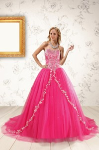 Beautiful Hot Pink Quinceanera Dress With Beading And Appliques