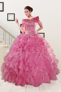 Puffy Sweetheart Pink Quinceanera Dress With Beading