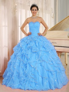 Ruffles And Beaded For Aqua Blue Quinceanera Dress Custom Made