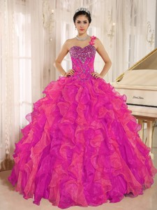 Custom Made Corala Red One Shoulder Beaded Decorate Ruffles Quinceanera Dress In Spring