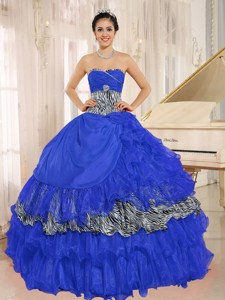 Wholesale Blue Sweetheart Ruffles Quinceanera Dress With Zebra and Beading