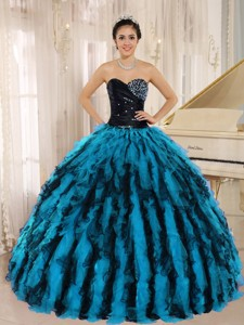 Beaded and Ruffled Sweetheart For Multi-color Quinceanera Dress Hawaii