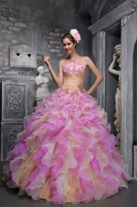 Lovely Strapless Taffeta and Organza Hand Flowers Multi-color Quinceanera Dress
