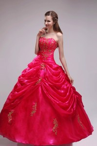 Red Ball Gown Strapless Floor-length Orangza Applqiues Quinceanera Dress