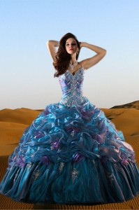 Beautiful Straps Multi-color Beadings And Ruffles Gowns For Quinceanera