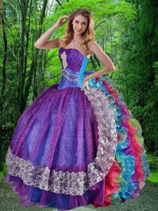 Luxirious Sweetheart Multi-color Sweet Sixteen Dress With Appliques And Ruffles