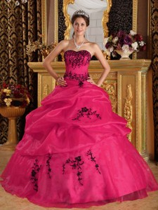 Coral Red Ball Gown Sweetheart Floor-length Satin and Organza Embroidery Quinceanera Dress