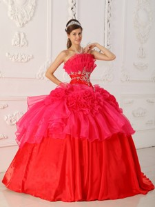 Red Ball Gown Strapless Floor-length Taffeta and Organza Quinceanera Dress