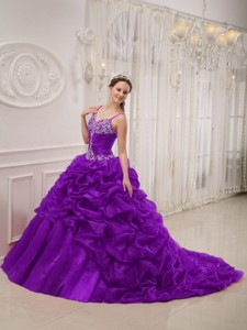 Purple Ball Gown Spaghetti Straps Court Train Organza Beading Quinceanera Dress