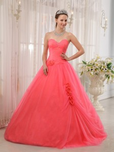 Watermelon Red Ball Gown Sweetheart Floor-length Tulle Beading Quinceanera Dress