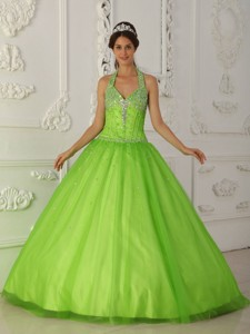 Spring Green Halter Floor-length Tulle Beading Quinceanera Dress