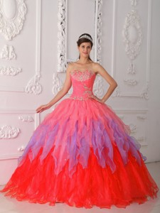 Watermelon Ball Gown Sweetheart Floor-length Organza Beading and Ruch Quinceanera Dress