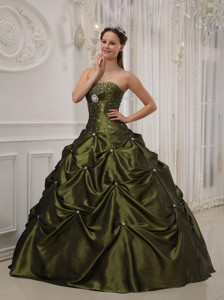 Olive Green Ball Gown Strapless Floor-length Taffeta and Satin Beading Quinceanera Dress