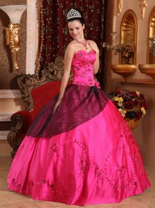 Hot Pink Ball Gown Sweetheart Floor-length Satin Embroidery with Beading Quinceanera Dress
