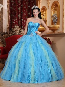 Aqua Blue Ball Gown Sweetheart Floor-length Tulle Beading Quinceanera Dress