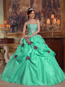 Apple Green Ball Gown Strapless Floor-length Taffeta Beading and 3D Flower Quinceanera Dress