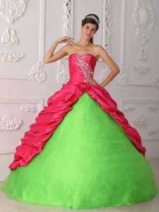 Green and Red Ball Gown Sweetheart Floor-length Taffeta Appliques and Ruch Quinceanera Dress