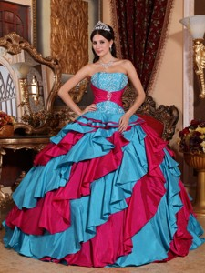 Aqua Blue and Red Ball Gown Strapless Floor-length Taffeta Embroidery Quinceanera Dress
