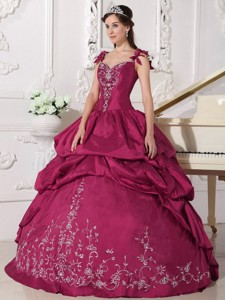 Red Ball Gown Straps Floor-length Taffeta Embroidery Quinceanera Dress