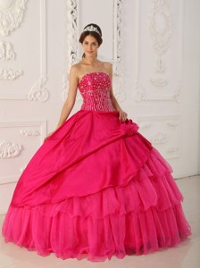 Hot Pink Ball Gown Strapless Floor-length Organza and Taffeta Beading Quinceanera Dress