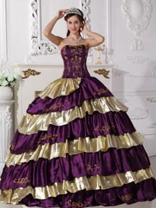 Purple and Gold Ball Gown Strapless Floor-length Taffeta Embroidery Quinceanera Dress