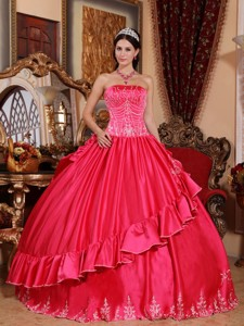 Coral Red Ball Gown Strapless Floor-length Satin and Taffeta Embroidery Quinceanera Dress